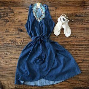 Denim Wrap tie Crossover V-Neck Dress